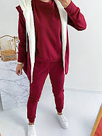 Женский теплый спортивный костюм-тройка с жилеткой на меху (Норма и батал), фото 9