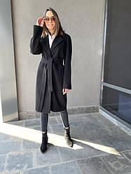 Демісезонне жіноче класичне пальто чорного кольору