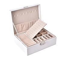 Шкіряна скринька органайзер для ювелірних виробів, фото 1