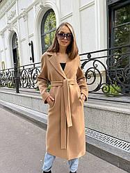 Брендове демісезонне кашемірове пальто кольору кемел