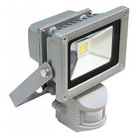 Прожектор светодиодный LL-222 1LED 10W белый 6400К (+датчик) 230V (115*86*87mm) Серебро IP44