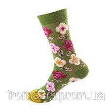 Носки MavkaSocks яркие и стильные Цветы зеленые 1 пара