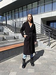 Чорне найактуальніше жіноче кашемірове пальто преміум якості