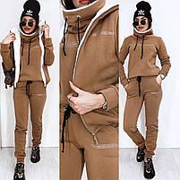 Теплий жіночий костюм трійка з хутром в кольорах (Норма), фото 2