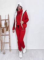 Теплий жіночий костюм трійка з хутром в кольорах (Норма), фото 10