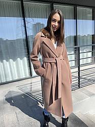 Демісезонне довге кашемірове пальто жіноче з поясом преміум якість