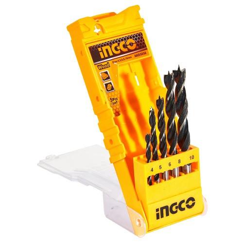Набір свердел по дереву 5 шт. 4–10 мм, коробка INGCO