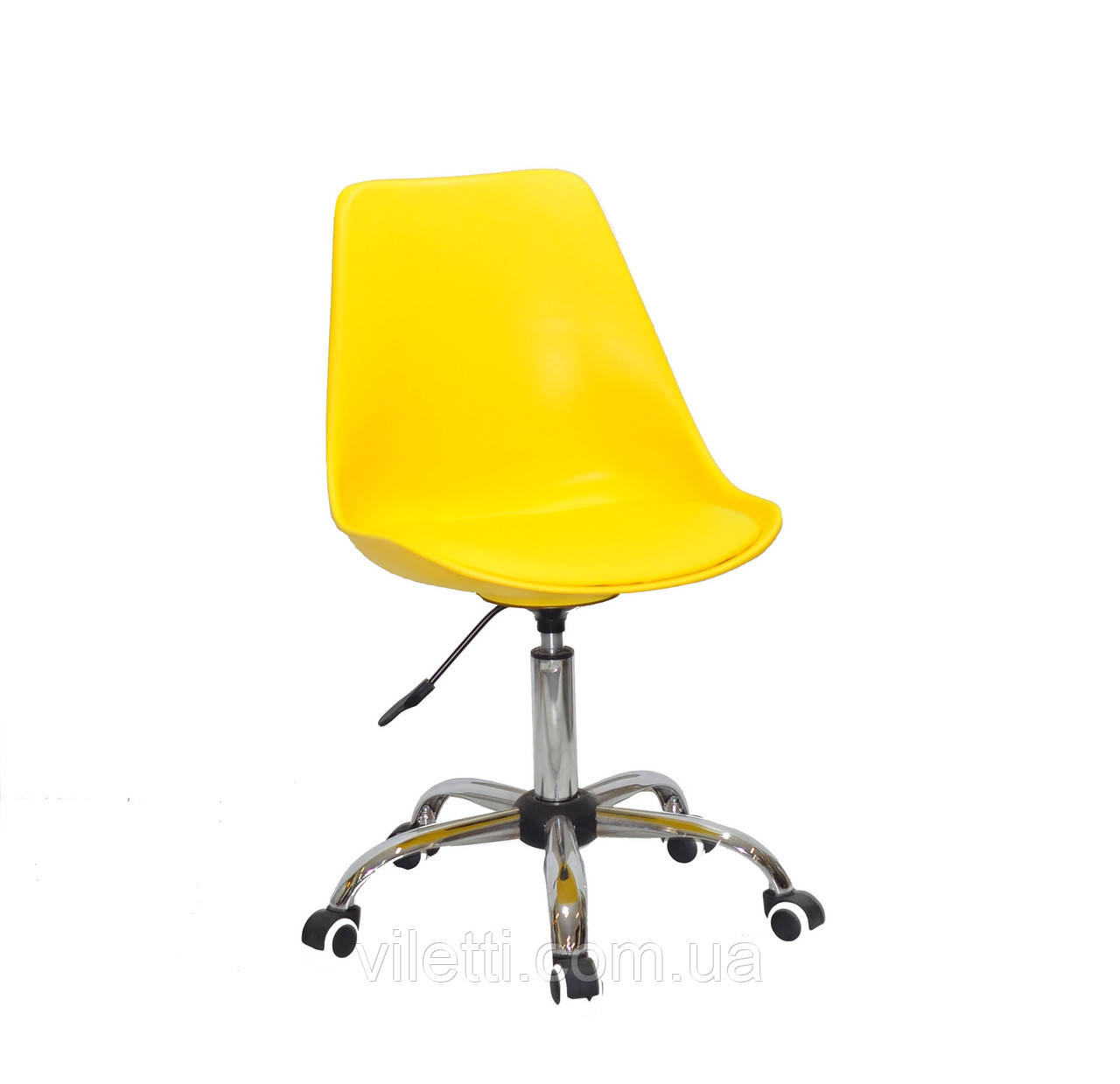 Офісне жовте крісло на коліщатках, поворотне з суцільнолитого пластику з м'яким сидінням Albert Office