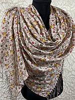 Турецкий пудровый палантин с цветочным принтом и бахромой 180х70 см (цв.8)