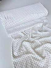 Муслін (бавовняна тканина) жатка горошок чорний (95*135)