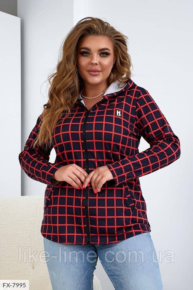 Модна жіноча сорочка в клітку з капюшоном, великий розмір