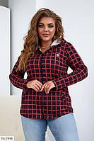 Модна жіноча сорочка в клітку з капюшоном, великий розмір, фото 1