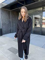 Шикарне демісезонне пальто чорного кольору з вовняної тканини