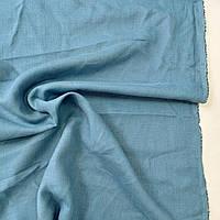 Білоруський льон натуральний тканина синьо-зелена світла, ширина 150 см, фото 1