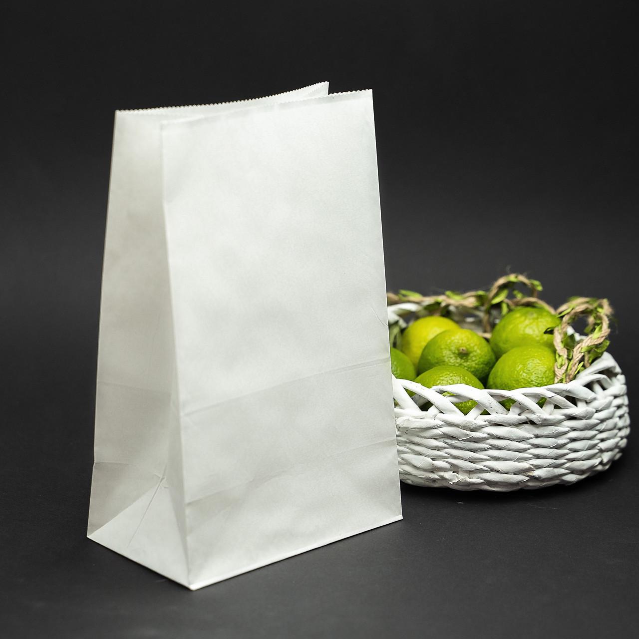 Крафт пакет белый с плоским дном 150*90*240 мм для пищевых продуктов