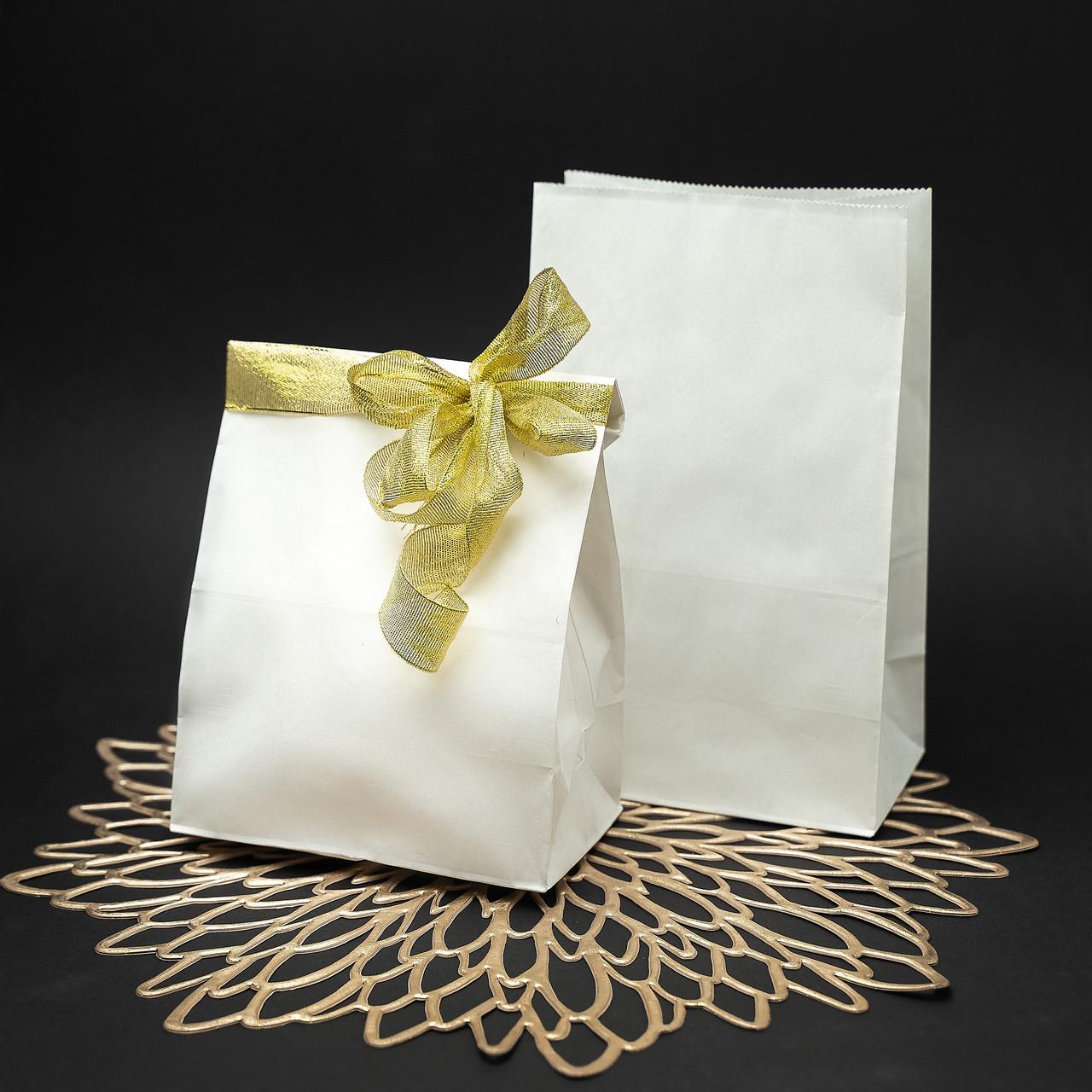 Білий крафт пакет фасувальний без ручок з плоским дном 150*90*240 мм
