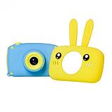 Детский цифровой фотоаппарат фотокамера с ушками с автофокусом фотик для ребенка BABY RABBIT Желтый (3766), фото 4