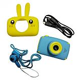 Детский цифровой фотоаппарат фотокамера с ушками с автофокусом фотик для ребенка BABY RABBIT Желтый (3766), фото 5