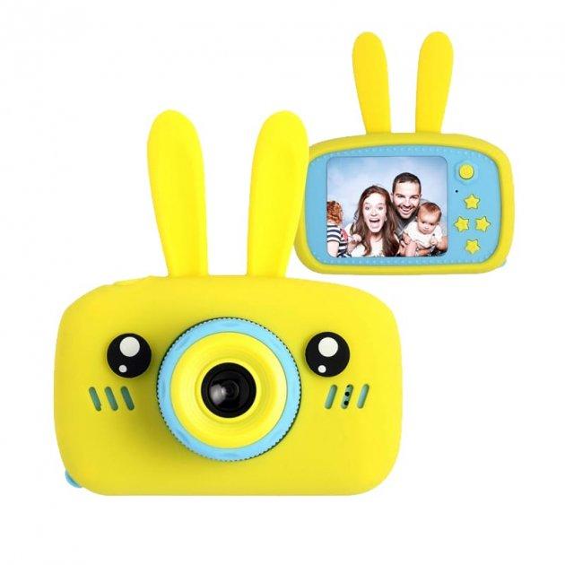 Детский цифровой фотоаппарат фотокамера с ушками с автофокусом фотик для ребенка BABY RABBIT Желтый (3766)
