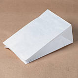 Пакет паперовий білий 150*90*240 мм з плоским дном, упаковка 500 штук, фото 5