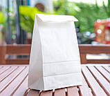Крафт пакет белый с плоским дном 150*90*240 мм для пищевых продуктов, фото 3
