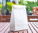 Крафт пакет білий з плоским дном 150*90*240 мм для харчових продуктів, фото 3