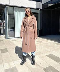 Демісезонне жіноче довге актуальне пальто преміум якості