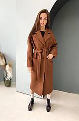 Жіноче базове довге демісезонне пальто з поясом