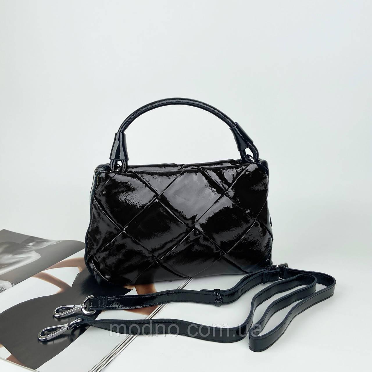 Жіноча шкіряна плетена лакова сумка через і на плече Polina & Eiterou