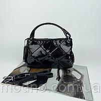 Жіноча шкіряна плетена лакова сумка через і на плече Polina & Eiterou, фото 5