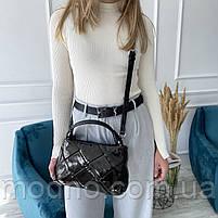 Жіноча шкіряна плетена лакова сумка через і на плече Polina & Eiterou, фото 4
