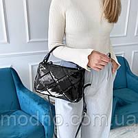 Жіноча шкіряна плетена лакова сумка через і на плече Polina & Eiterou, фото 3