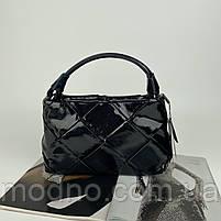 Жіноча шкіряна плетена лакова сумка через і на плече Polina & Eiterou, фото 8