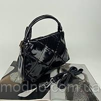 Жіноча шкіряна плетена лакова сумка через і на плече Polina & Eiterou, фото 6