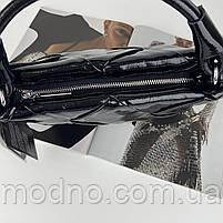 Жіноча шкіряна плетена лакова сумка через і на плече Polina & Eiterou, фото 9