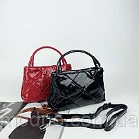 Жіноча шкіряна плетена лакова сумка через і на плече Polina & Eiterou, фото 2