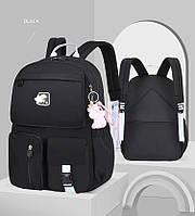 Школьный рюкзак черный для девочки 3-4-5-6 класс | 9-10-11-12 лет, вместительный легкий портфель в школу