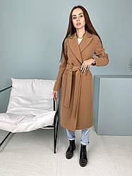 Найактуальніше жіноче довге кашемірове пальто кольору кемел