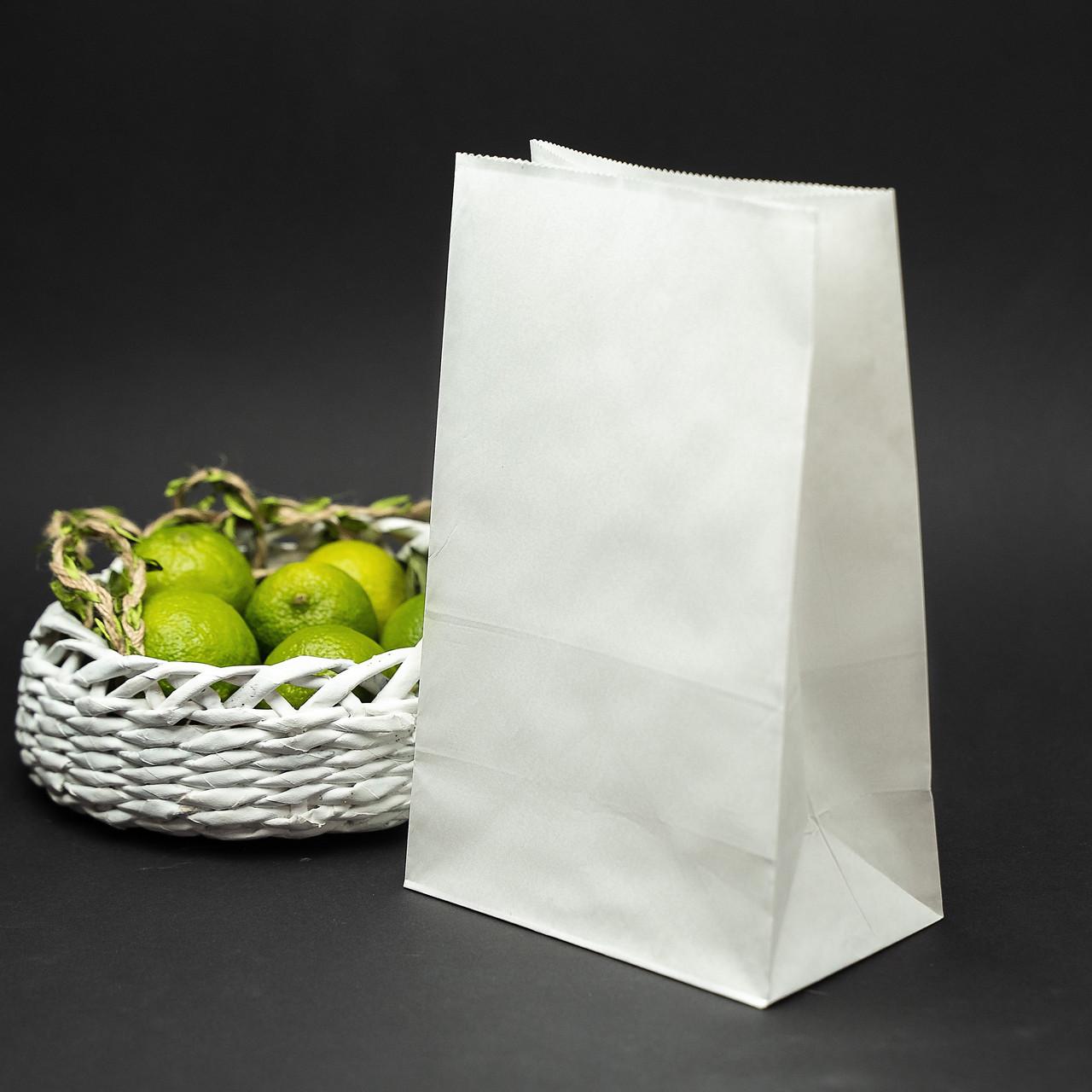 Пакет паперовий білий 150*90*240 мм з плоским дном упаковочний