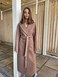 Шикарне демісезонне довге двобортне пальто з поясом