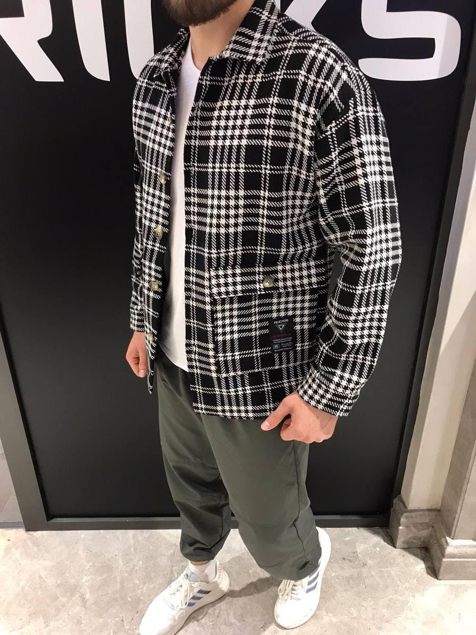 Мужская рубашка байковая оверсайз (черно-белая) стильная качественная А0709-4