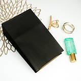 Крафт пакет Чорний 150*90*240 мм подарунковий паперовий пакет з плоским дном, фото 2