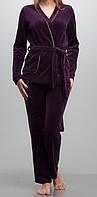 Женский комплект с халатиком велюровый фиолетовый