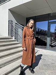 Преміальне жіноче демісезонне пальто теракотове