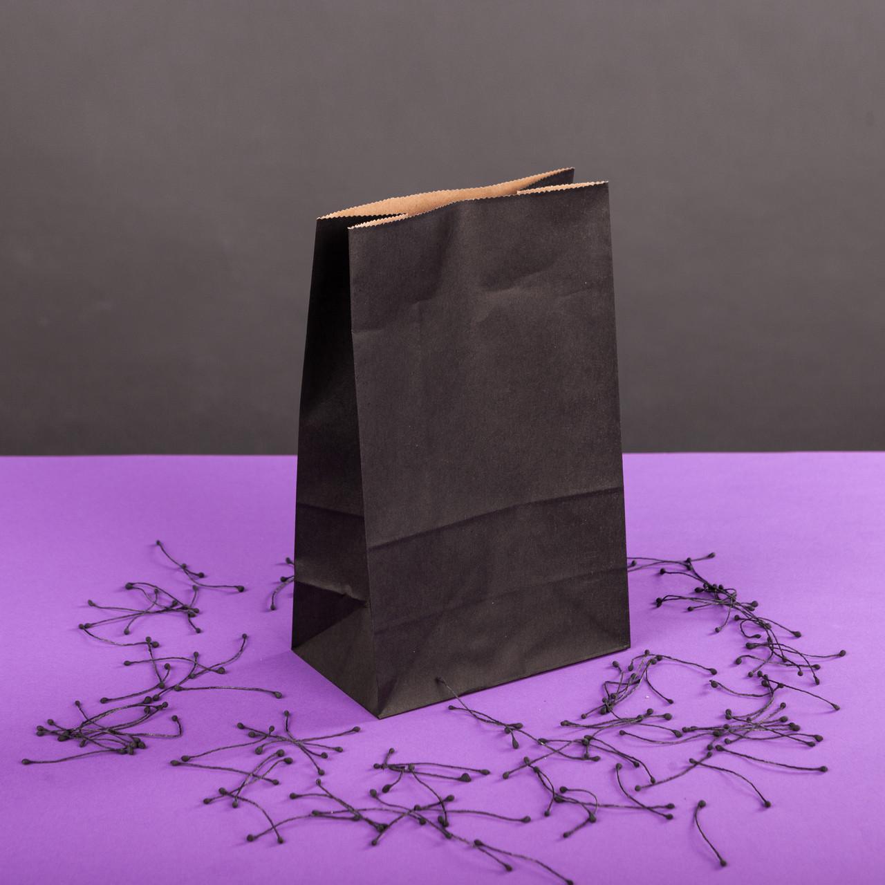 Паперовий пакет Чорний подарунковий 150*90*240 мм з прямокутним дном