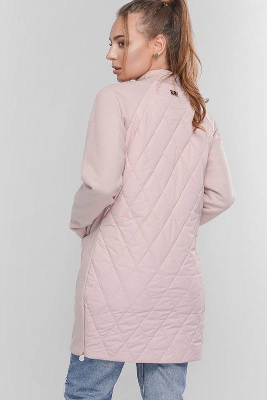 Куртка-пальто женское кашемир + плащевка пудра  46-48 размер