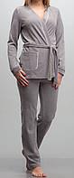 Женский комплект с халатиком велюровый серый