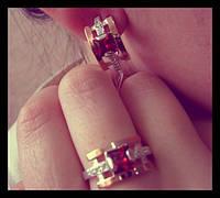 Серебряный комплект с золотом – кольцо и серьги, фото 1
