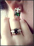 Серебряный комплект с золотом – кольцо и серьги, фото 2