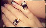 Серебряный комплект с золотом – кольцо и серьги, фото 3